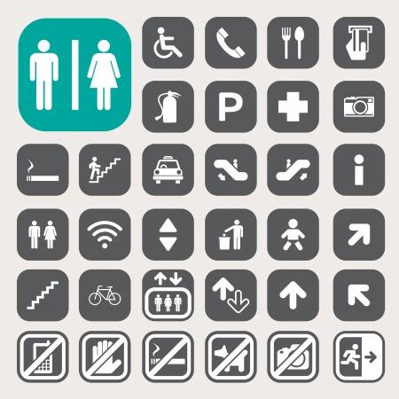 Public icons set.Illustration