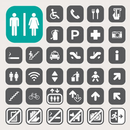 exit emergency sign: Public icons set.Illustration