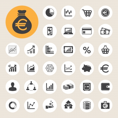 Business and finance icon set.Illustration  Vector