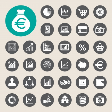 conection: Business and finance icon set.Illustration  Illustration
