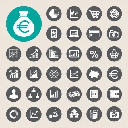 euro area: Business and finance icon set.Illustration  Illustration
