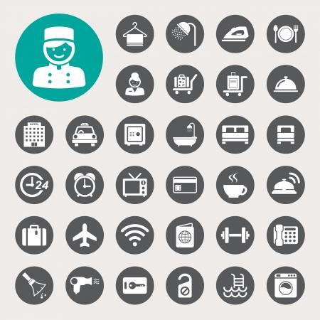 piktogram: Hotel i zestaw ikon podróży, Ilustracja Ilustracja
