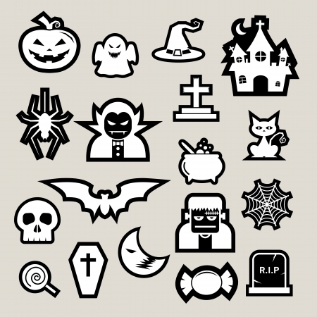 Halloween icon set.Illustrator  Vector