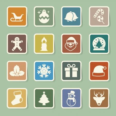Christmas icon set.Illustration Vector