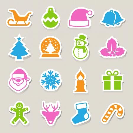 Christmas icon set.Illustration