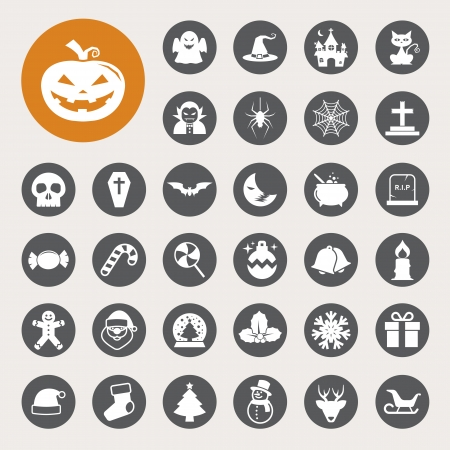 Christmas & Halloween icon set.Illustration Vector