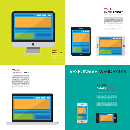 Responsive webdesign on Computer , Smartphone and Tablet Stock Vector - 23124151