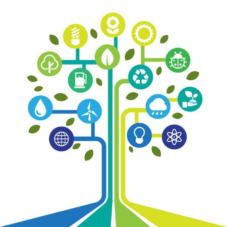 eco icons: Eco energy icons set Illustration