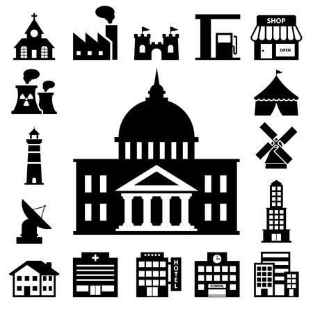 épület: épületek icon set