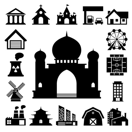 department head: buildings icon set  Illustration