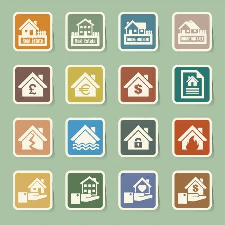 inundation: House insurance icons Set