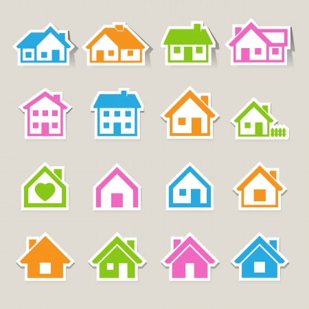 sales floor: Houses icons set  Real estate   Illustration