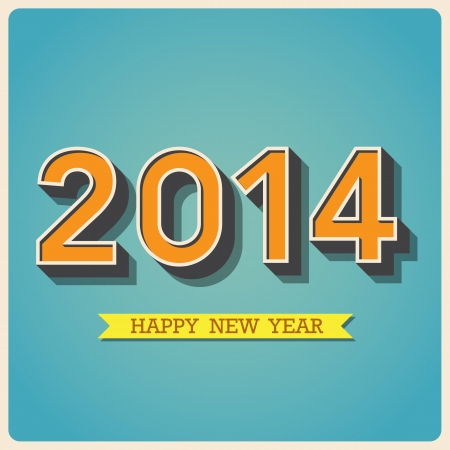 Happy new year retro poster.