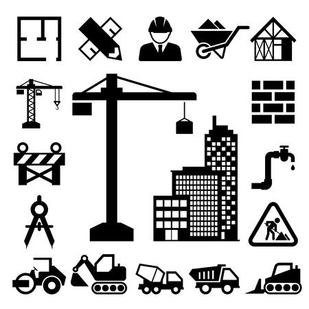 Iconos de construcción establecidas. Ilustración de vector