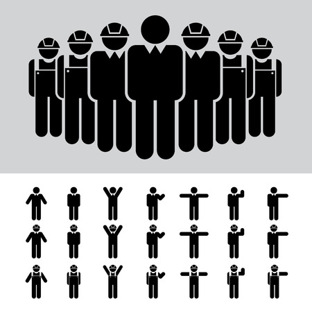 team worker: Business man , Architect , engineer , worker , icon set .  Illustration