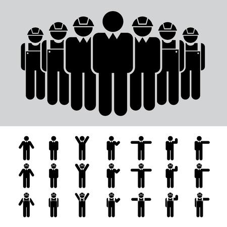 arquitecto: Hombre de negocios, arquitecto, ingeniero, trabajador, conjunto de iconos. Vectores