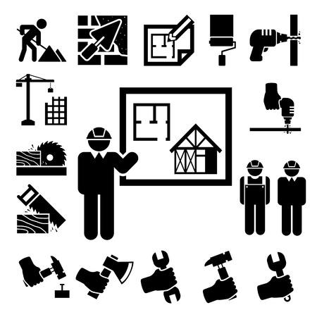 hoe: Construction Icons set.