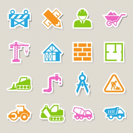 skid steer: Construction Icons set.