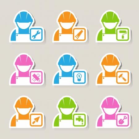 warning saw: Construction Icons set.