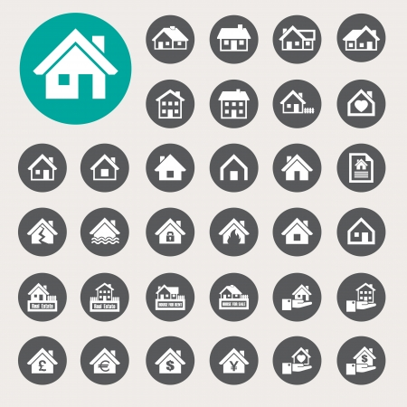 Houses icons set. Real estate. Stock Vector - 23843028