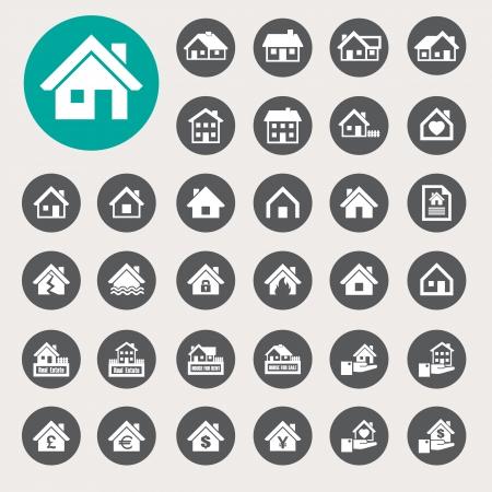 Huizen iconen set. Onroerend goed. Vector Illustratie
