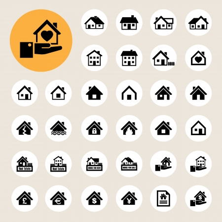 damaged houses: Houses icons set. Real estate.