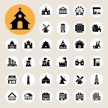 Buildings icon set. Vector