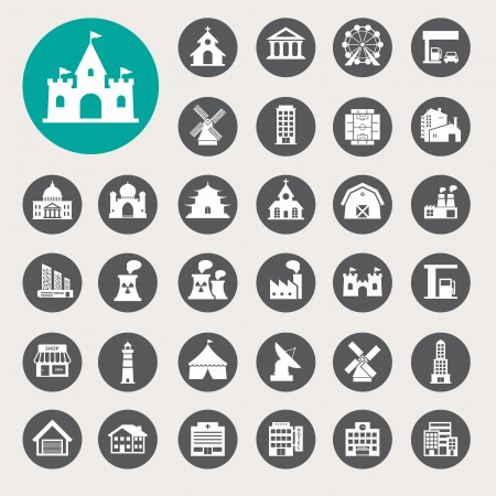 department head: Buildings icon set.