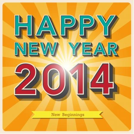 행복 한 새 해 복고풍 포스터.