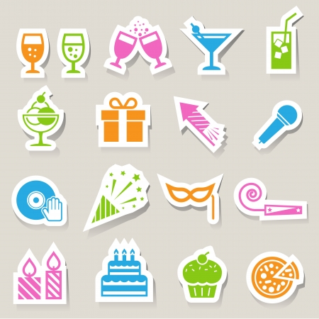 torta compleanno: Festa e celebrazione icon set.