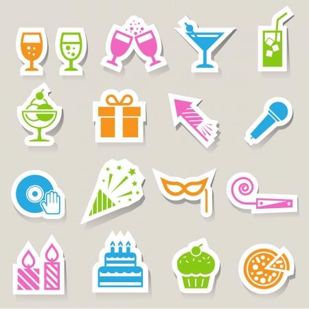 pastel de cumplea�os: Fiesta y Celebraci�n conjunto de iconos.
