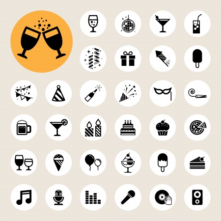 Party and Celebration icon set. Stock Vector - 24539684