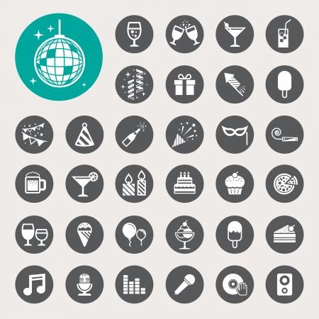 Partij en Celebration icon set. Stock Illustratie