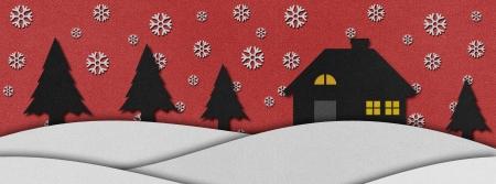 craft man: Christmas night  recycled papercraft background. Stock Photo