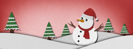 Snowman recycled paper craft  background. photo