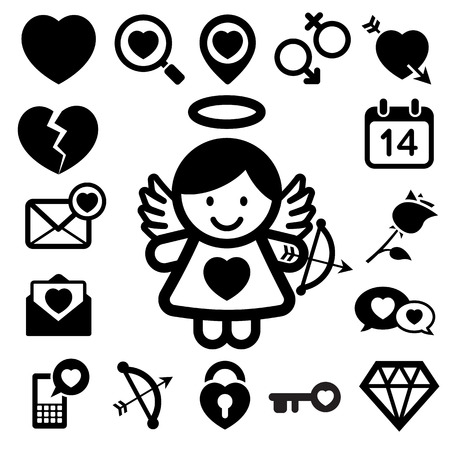 Valentine's day icons set. Illustration eps10 Vector