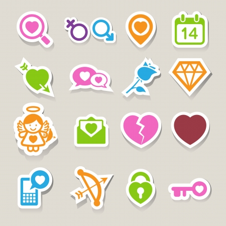 Valentines day icons set. Illustration eps10 Vector