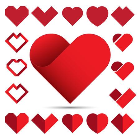 Rosso cuore set di icone. Illustrazione