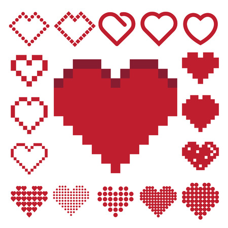 Red heart icon set . Illustration  Vector