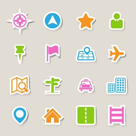 gprs: Map and Location Icons set .