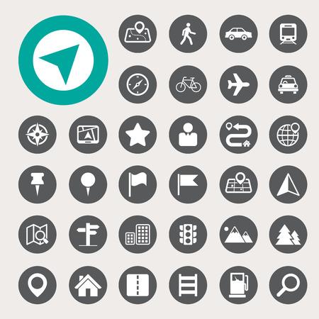 Plattegrond en locatie Icons set. Stock Illustratie