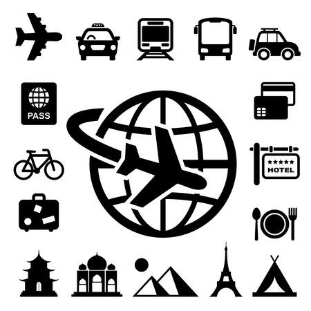 Reizen en vakantie Icons set Stock Illustratie
