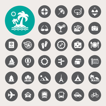 Travel and vacation Icons set Çizim