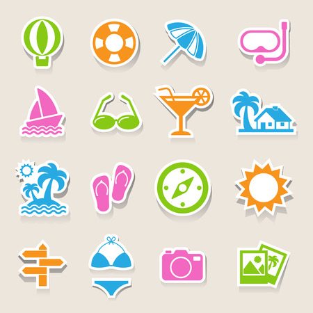 vacation home: Travel and vacation Icons set