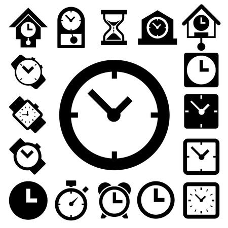 interval: Clocks and time icons set