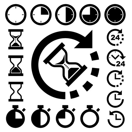 orologio da parete: Orologi e icone termini stabiliti Vettoriali