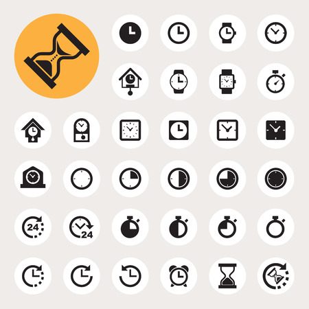 Clocks and time icons set.
