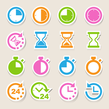 24 hour: Clocks and time icons set.