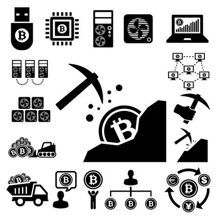 mining truck: Iconos de la moneda bit establecido.