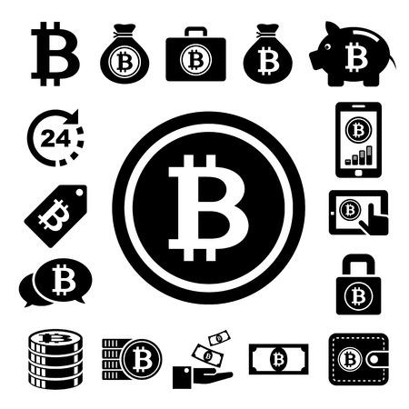 cobranza: Iconos de la moneda bit establecido.